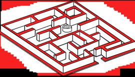 Illustration, en labyrint, som illustrerar Kumaris övergångsberättelse