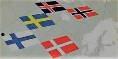 Bild med de nordiska ländernas flaggor, med karta i bakgrunden