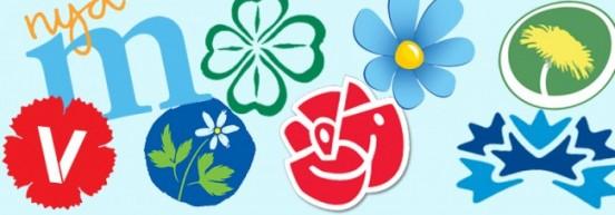 Bild på alla riksdagspartiers logotyper (våren 2016)