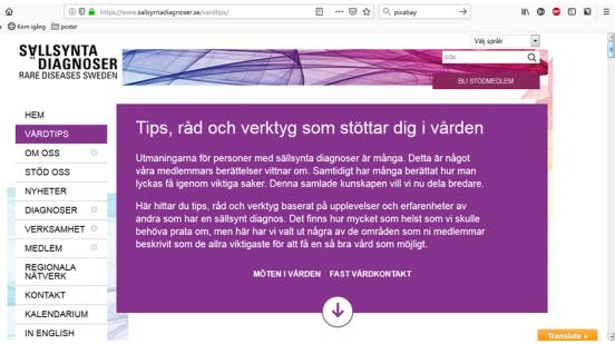 Bild på skärmdump från vår hemsida, Tips, råd och verktyg som stöttar dig i vården